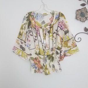 Daniel Rainn Floral Kimono Blouse Top